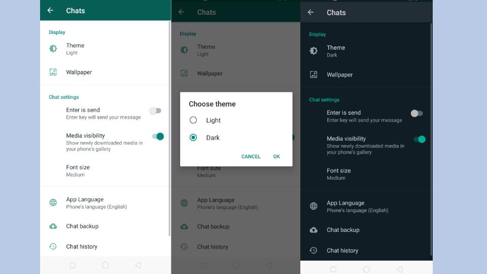 Dark mode WhatsApp Feature update